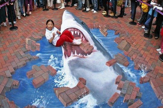 Illusions d 39 optiques - Dessin de grand requin blanc ...